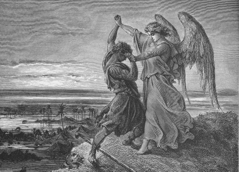 Jacob wrestles with the angel of the Lord