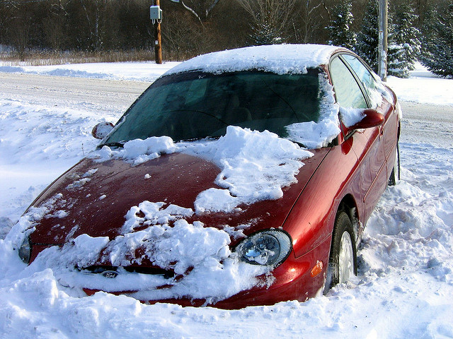 car stuck in the snow - photo by Michael Pereckas