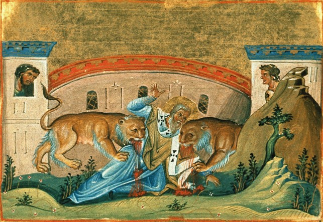 Painting of Ignatius of Antioch (one of the apostolic fathers) from the Menologion of Basil II (c. 1000 AD)