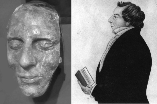 The death mask of Joseph Smith, and a painting of him done during his life