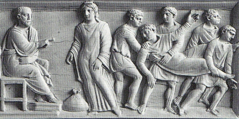Sapphira is rebuked by Peter, detail of 4th c casket