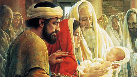 Simeon the prophet, Jesus, and Mary