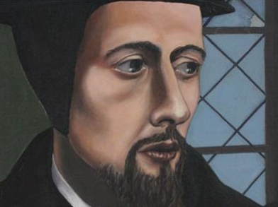 detail of John Calvin by Oliver Crisp, cover of his Deviant Calvinism