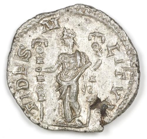 """Roman coin with the word Fides (""""Faith"""")"""